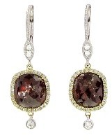 Meira T Brown Fancy Rose Cut Diamond Earrings