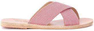 Ancient Greek Sandals Thais Red And White Fabric Slippers