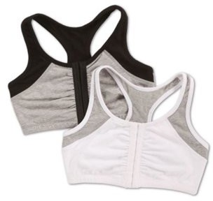 Fruit of the Loom Womens Front Close Racerback Sport Bra, Style FT390, 2-Pack