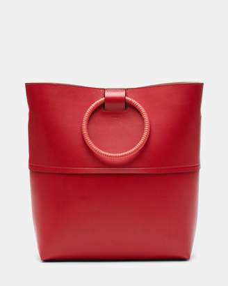 Theory Large Hoop Tote With Wax Cord Hoop in Leather