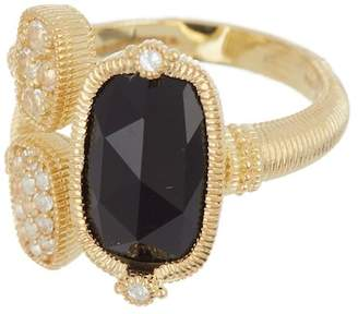 Judith Ripka 14K Gold Plated Sterling Silver Gold Coast Gemstone & Double Pave Station Ring - Size 7