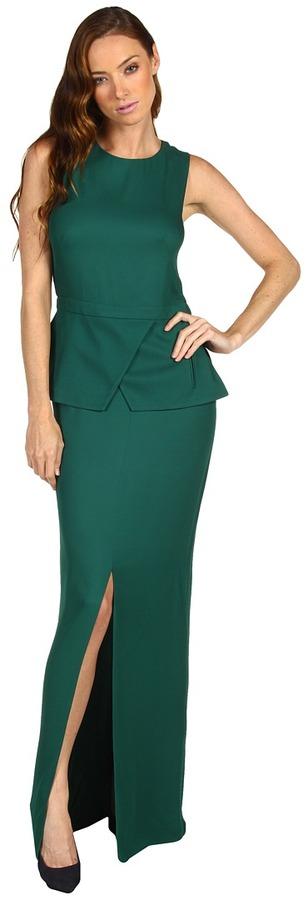 Tibi Drapy Crepe Long Peplum Dress (Emerald) - Apparel