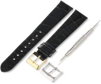 Artisan of Italy AITG500-0117MR Men's Classic Ultra-Thin Alligator 17mm Black Watch Strap