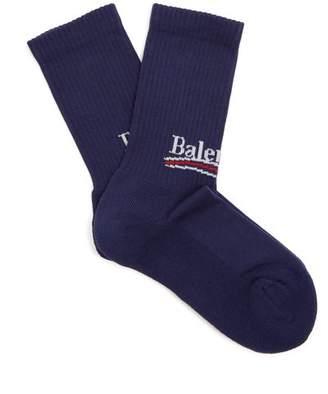 Balenciaga Logo Intarsia Cotton Blend Socks - Womens - Navy