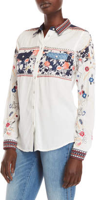 Desigual Embroidered Floral Pocket Shirt