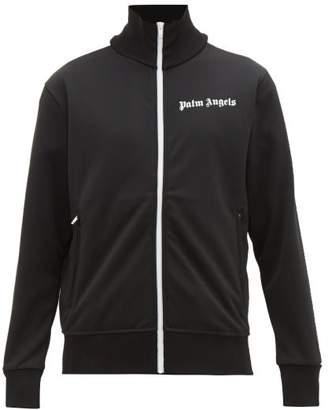Palm Angels Logo Print Zip Through Jersey Track Jacket - Mens - Black