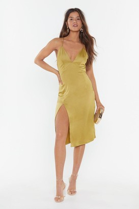 Nasty Gal Womens Leg Up On The Competition Satin Midi Dress - Yellow - 6