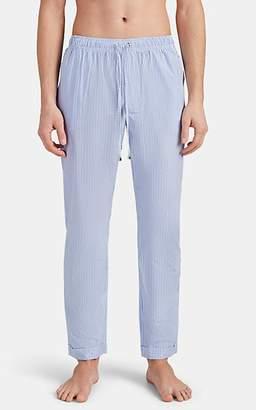 Barneys New York Men's Striped Cotton Poplin Pajama Pants - Blue