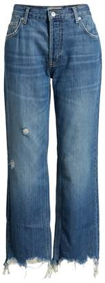 Free People Maggie Ripped Crop Straight Leg Jeans