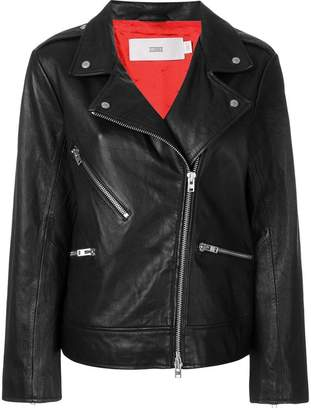 Closed off centre zipped biker jacket