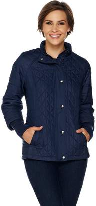 Isaac Mizrahi Live! SOHO Mixed Quilted Coat with Storm Cuffs