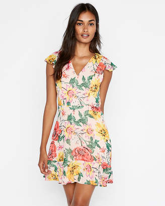 Express Floral Tie Back Fit And Flare Dress