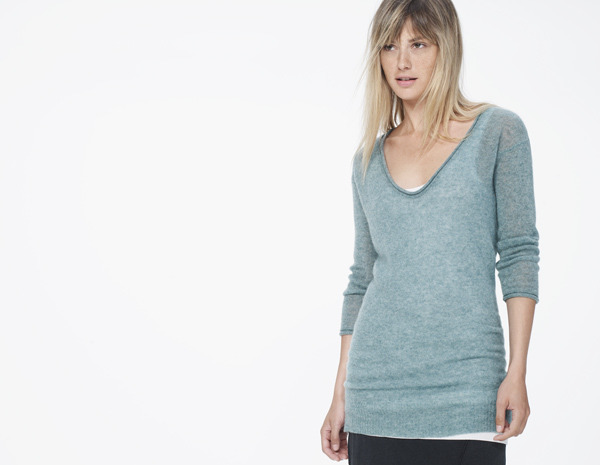 James Perse Lightweight Cashmere Deep V-Neck Sweater