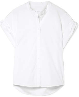 Veronica Beard Sanaa Tie-detailed Cotton-blend Poplin Shirt - White