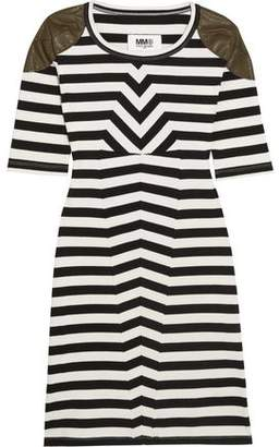 Maison Margiela Faux Leather-Trimmed Striped Stretch-Cotton Mini Dress