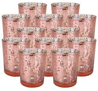 """Just Artifacts Mercury Glass Votive Candle Holder 2.75""""H (12pcs, Speckled Blush) -Mercury Glass Votive Tealight Candle Holders for Weddings, Parties and Home Decor"""