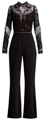 Elie Saab Guipure Lace And Crepe Wide Leg Jumpsuit - Womens - Black