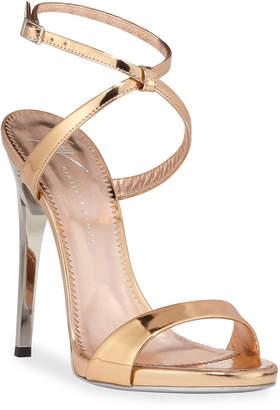 Giuseppe Zanotti Bolt-Heel Metallic Leather Ankle-Wrap Sandals