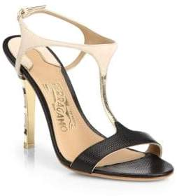 Salvatore Ferragamo Monroe Snake-Embossed Leather T-Strap Sandals