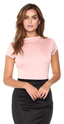 Velvet Rope Women's Satin Knit Mockneck Short Sleeve Thong Bodysuit Mauve Pink