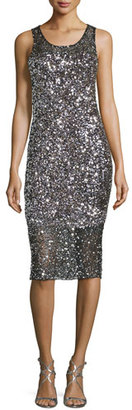 Parker Sleeveless Sequined Cocktail Dress, Silver $525 thestylecure.com