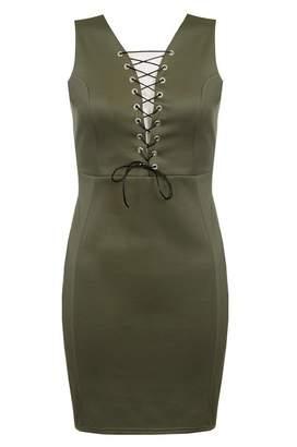 Quiz Khaki Eyelet Lace Up Bodycon Dress