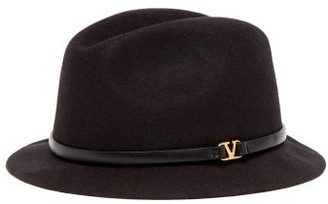 Valentino V Ring Leather Trimmed Felt Fedora Hat - Womens - Black