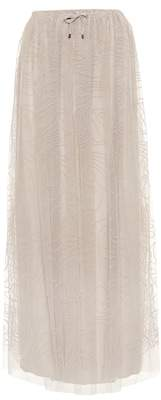 Brunello Cucinelli Embroidered tulle maxi skirt