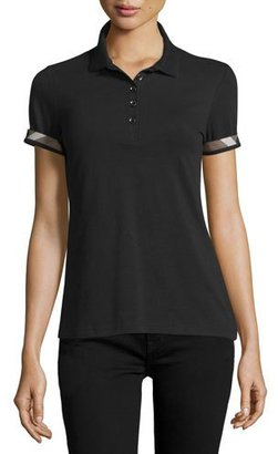 Burberry Slim-Fit Polo Shirt with Check Trim, Black $195 thestylecure.com