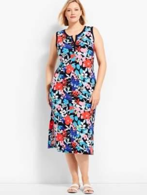 Talbots Sunny Meadow Print Slub Jersey Henley Dress