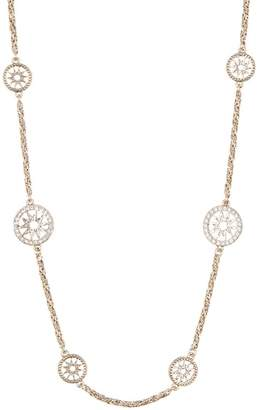Marchesa Braided Chain Crystal Coin Station Necklace