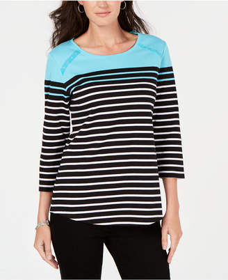 Karen Scott Colorblocked Striped Top, Created for Macy's