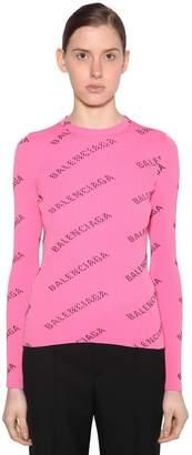Balenciaga LOGO PRINT CREWNECK SWEATER RIB KNIT