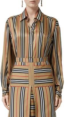 Burberry Vertical Check Printed Silk Twill Shirt