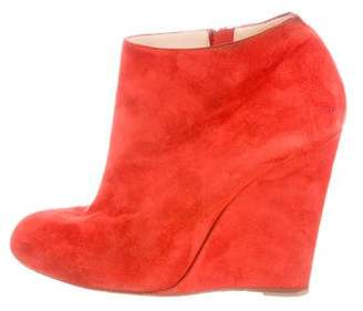 Christian Louboutin Round-Toe Suede Wedges