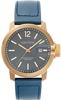 Nautica Men's 'Sydney' Quartz Stainless Steel and Leather Casual Watch