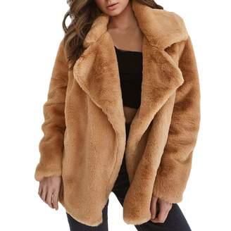 ThePass Women Winter Faux Fur Loose Big Collar Coat Keep Warm Outerwear Fur Coat