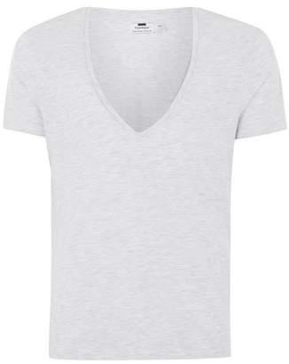Topman Mens Mid Grey Gray Low V-Neck T-Shirt