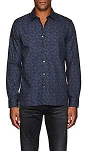 John Varvatos Men's Floral Cotton Poplin Shirt - Blue