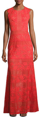 BCBGMAXAZRIA Merida Cutout-Back Floral Lace Gown, Bright Poppy $398 thestylecure.com