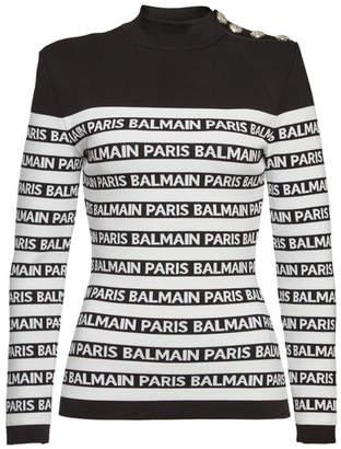 Balmain Printed Turtleneck Pullover