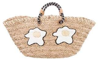 Anya Hindmarch Basket Eggs Embroidered Straw Tote Bag