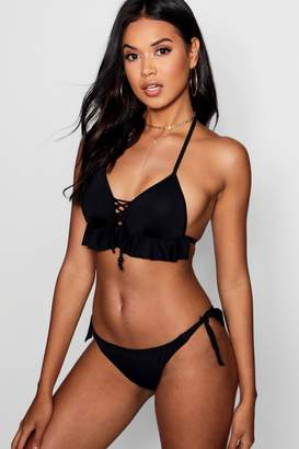 boohoo Frill Tie Neck Push Up Triangle Bikini