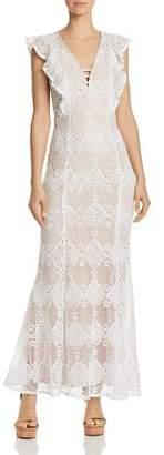 Aqua Flutter-Sleeve Lace Maxi Dress - 100% Exclusive