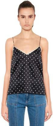 Ganni Polka Dot Print Silk Satin Tank Top