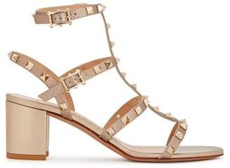 Valentino Rockstud 60 Bronze Leather Sandals