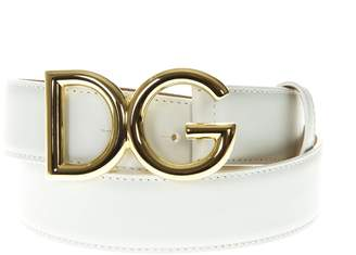 Dolce & Gabbana White Leather Belt
