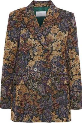 Sandro Alma Double-Breasted Floral-Jacquard Coat