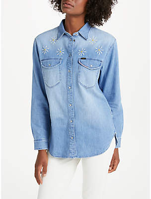 Lee Oversized Embroidered Denim Shirt, Sun Fade Damage