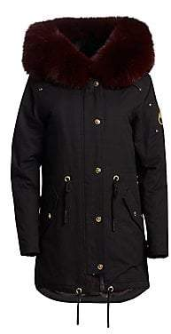 Moose Knuckles Women's Stellar Rabbit& Fox Fur-Trimmed Hooded Canvas Parka